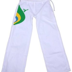 Printed White Capoeira Pants for Kids  - Capoeirista Brazil Colors - ZumZum Capoeira Shop