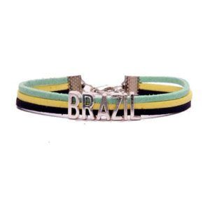 Brazil - Suede and Metal Bracelet - Flag Colors - ZumZum Capoeira Shop