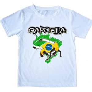 "Printed White T-Shirt - ""Capoeira Map of Brazil"" - Unisex Adults and Kids - ZumZum Capoeira Shop"
