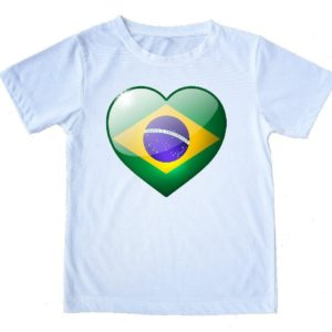 "Printed  Capoeira White T-Shirt - ""Love Brazil"" 100% Cotton - Unisex - ZumZum Capoeira Shop"
