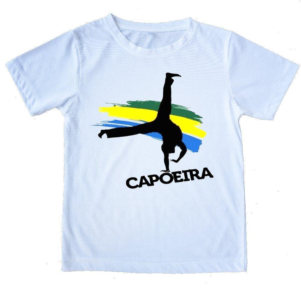 """White Printed Capoeira T-Shirt - """"Au"""" - 100% Cotton - ZumZum Capoeira Shop"""
